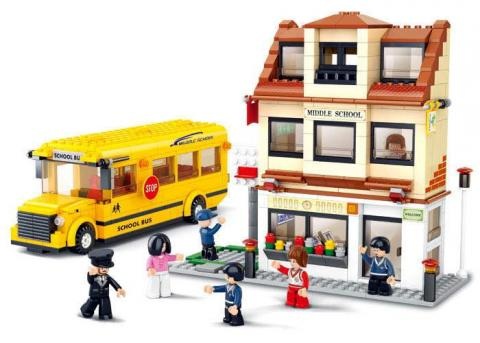Sluban Educational Block Toy School Bus